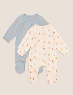 2pk Cotton Floral Sleepsuits (7lbs-12 Mths)