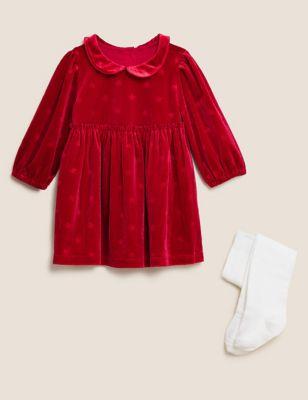 Velvet Dress & Tights (0-3 Yrs)