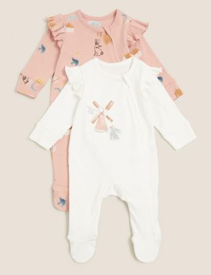 2pk Pure Cotton Printed Sleepsuits (0-3 Yrs)