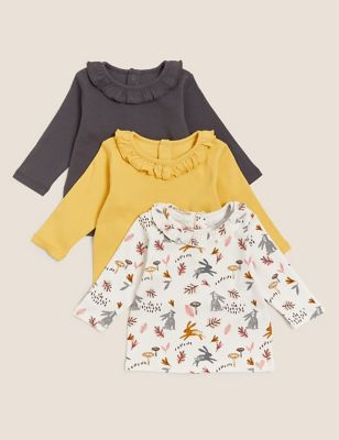 3pk Pure Cotton Patterned Tops (0-3 Yrs)