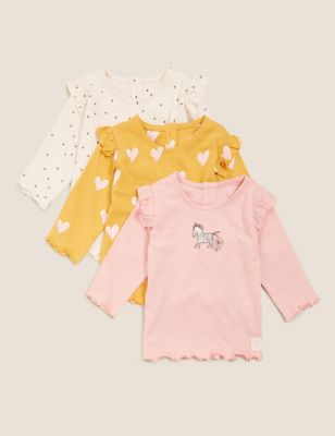 3pk Pure Cotton Frill Shoulder Tops (0-3 Yrs)