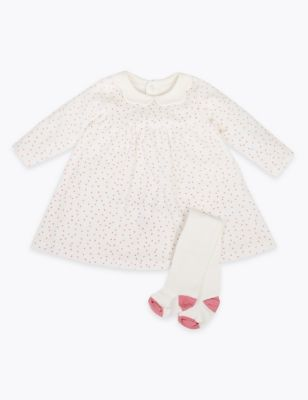 2 Piece Cotton Velour Spotted Print Outfit (0-12 Mths)