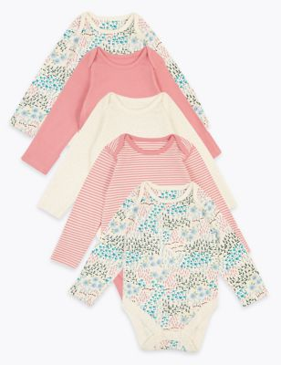 5 Pack Organic Cotton Patterned Bodysuits (6½lbs-3 Yrs)