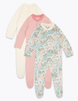 3pk Organic Cotton Ditsy Sleepsuits (0-3 Yrs)