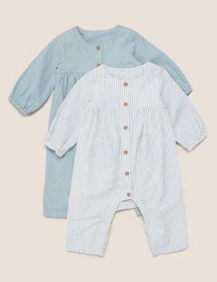 2pk Pure Cotton Rompers (0-3 Yrs)