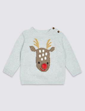 Pure Cotton Reindeer Knitted Jumper, GREY MARL, catlanding