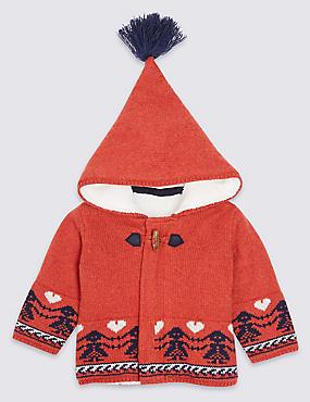 Cotton Rich Fairisle Hooded Cardigan, ORANGE MIX, catlanding