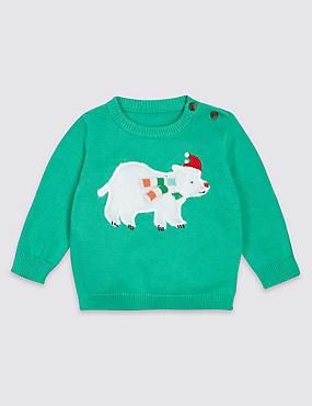 Pure Cotton Polar Bear Christmas Jumper, GREEN, catlanding