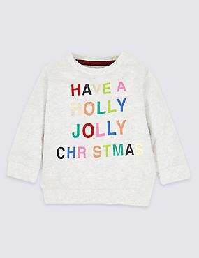 Pure Cotton Christmas Sweatshirt, GREY MARL, catlanding