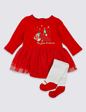 Baby Christmas Bodysuit with Tights Outfit, RED MIX, catlanding