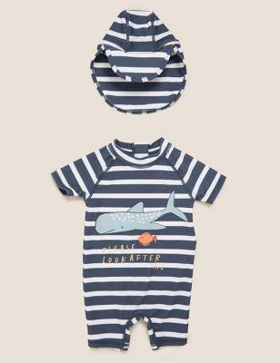 2pc Whale Stripe Swim Set (0-3 Yrs)