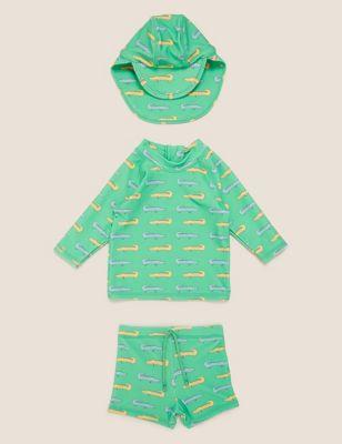 3pc Crocodile Print Swim Set (0-3 Yrs)