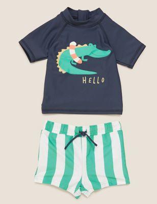 2pc Crocodile Print Swim Set (0-3 Yrs)