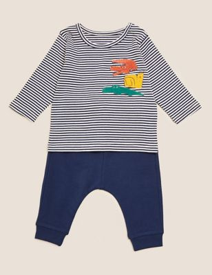2pc Cotton Striped Animal Outfit (0-3 Yrs)
