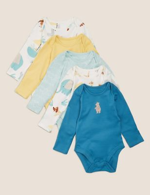 5pk Organic Cotton Printed Bodysuits (6½lbs - 3 Yrs)