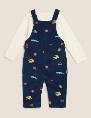 2pc Pure Cotton Crocodile Dungaree Outfit (0-3 Yrs)