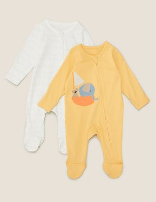 2pk Pure Cotton Animal Zip Sleepsuits (7lbs- 12 Mths)