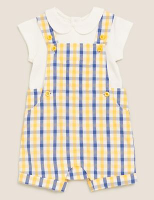 2pc Cotton Checked Dungaree Outfit (0 Mnth - 3 Yrs)