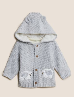 Pure Cotton Hooded Polar Bear Cardigan (0-3 Yrs)