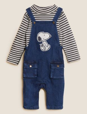 2pc Cotton Denim Snoopy™ Dungaree Outfit (0-3 Yrs)