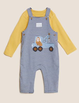 2pc Cotton Striped Dungaree Outfit (0-3 Yrs)