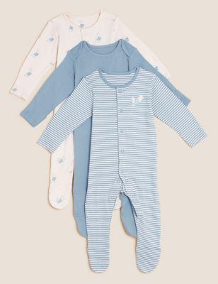 3pk Pure Cotton Peter Rabbit™ Sleepsuits (61/2lbs - 3 Yrs)