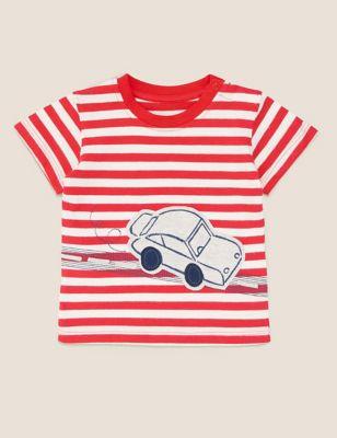 Pure Cotton Striped Car Applique T-Shirt (0-3 Yrs)