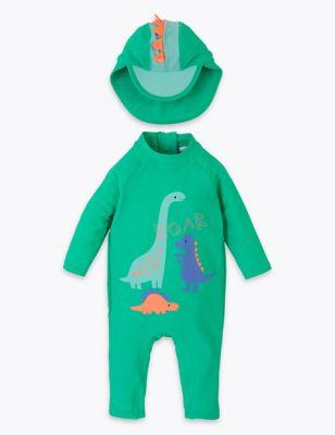2 Piece Dinosaur Long Sleeve Swimsuit (0-3 Yrs)