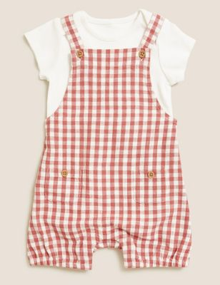 2pc Gingham Dungaree Outfit (7lbs- 12 Mths)