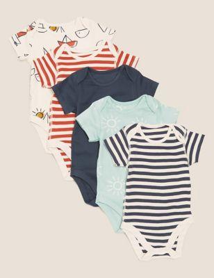 5pk Cotton Printed Bodysuits (0-3 Yrs)