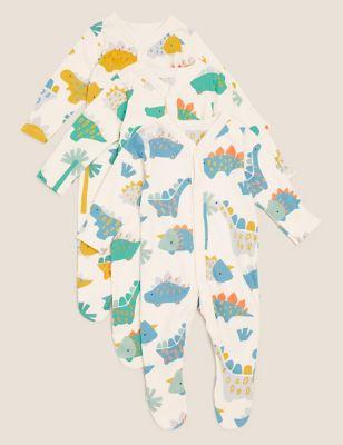 3pk Organic Cotton Dinosaur Sleepsuits (6lbs-3 Yrs)