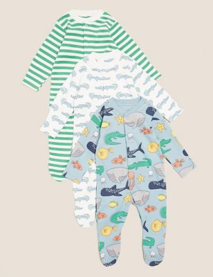 3pk Organic Cotton Animal Sleepsuits (7lbs - 3 Yrs)
