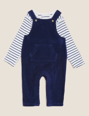 Cotton Velour Cord Dungarees (0-3 Yrs)