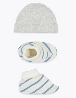 2 Piece Cotton Hat & Booties Set (0-12 Mths)