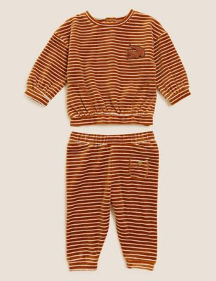 2pc Cotton Velour Striped Outfit (0-3 Yrs)