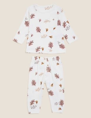 2pc Pure Cotton Leaf Print Outfit (0-3 Yrs)