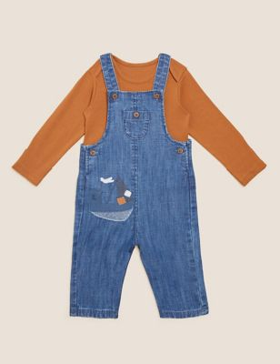 2pc Pure Cotton Dungarees Outfit (0-3 Yrs)