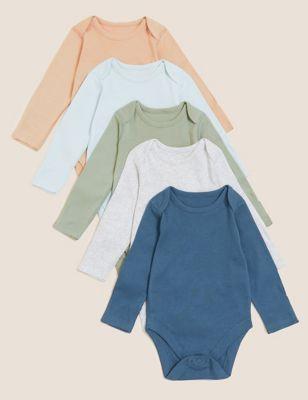 5pk Pure Cotton Bodysuits (6½lbs - 3 Yrs)
