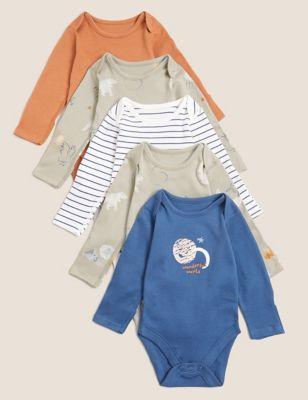 5pk Pure Cotton Printed Bodysuits (6½lbs - 3 Yrs)
