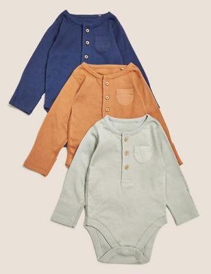 3pk Pure Cotton Bodysuits (0-3 Yrs)