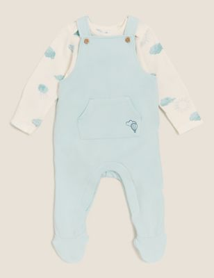 2pc Cotton Dungarees Outfit (7lbs - 12 Mths)