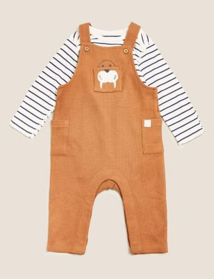 2pc Pure Cotton Walrus Dungarees Outfit (0-3 Yrs)
