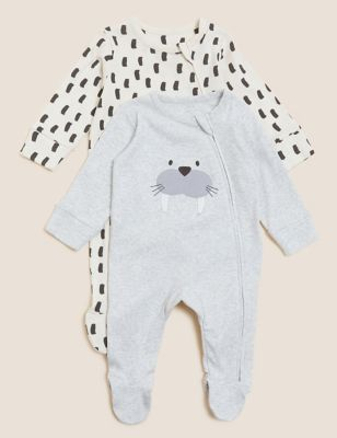 2pk Pure Cotton Patterned Sleepsuits (0-3 Yrs)