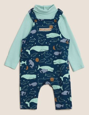 2pc Cotton Print Dungaree Outfit (0-3 Yrs)