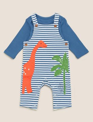 2pc Cotton Dinosaur Dungaree Outfit (0-3 Yrs)