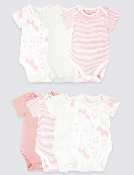 7 Pack Organic Cotton Animal Bodysuits