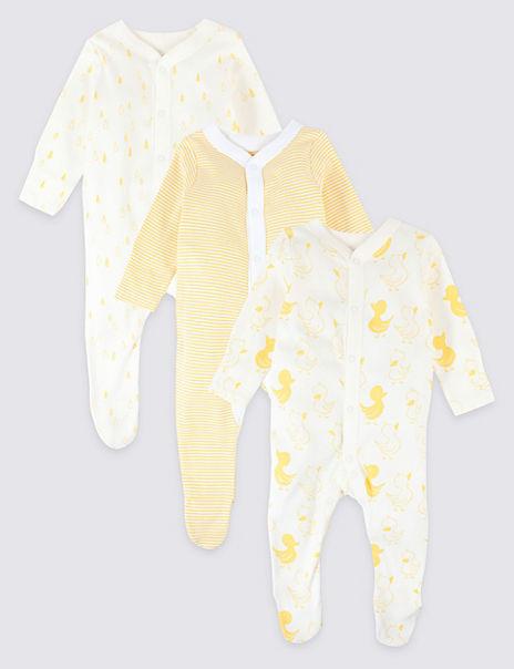 3 Pack Organic Cotton Animal Print Sleepsuits