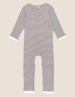 Adaptive Pure Cotton Striped Sleepsuit (3-16 Yrs)