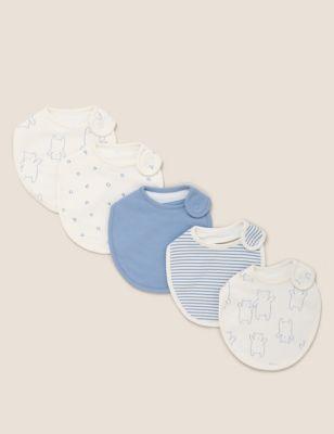 5pk Pure Cotton Printed Dribble Bibs