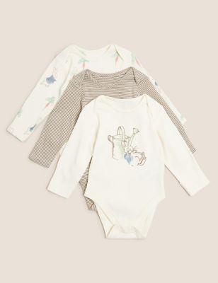 3pk Pure Cotton Peter Rabbit™ Bodysuits (7bls-3 Yrs)